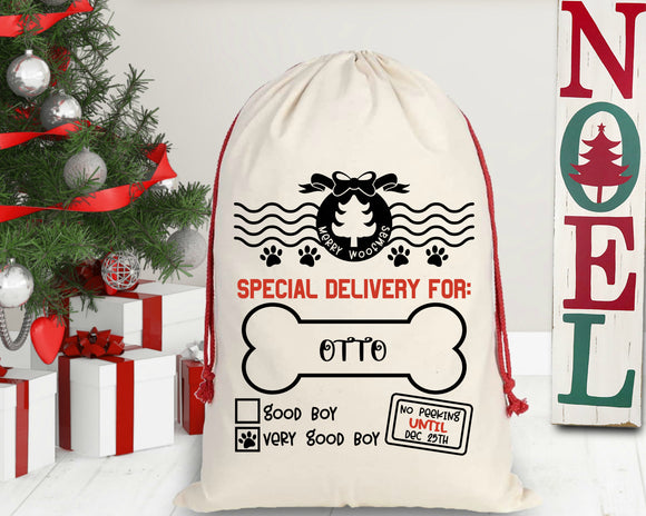 Personalized Boy Doggy Christmas Santa Sack
