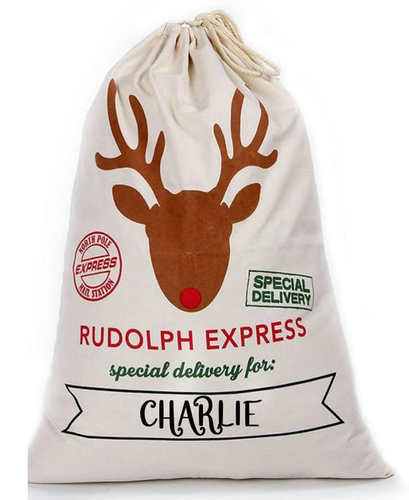 Personalized Rudolph Express Santa Sack