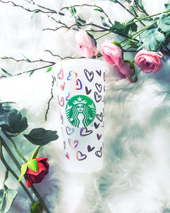 24 oz Starbucks Cold Cup - Rose Gold Holographic Hearts