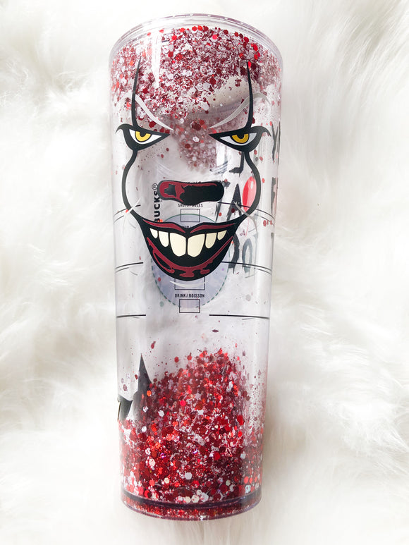We All Float - IT Pennywise - Starbucks 24 oz Snow Globe Glitter Flow Cup