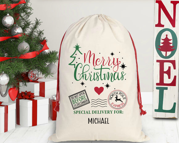 Personalized Merry Christmas Santa Sack