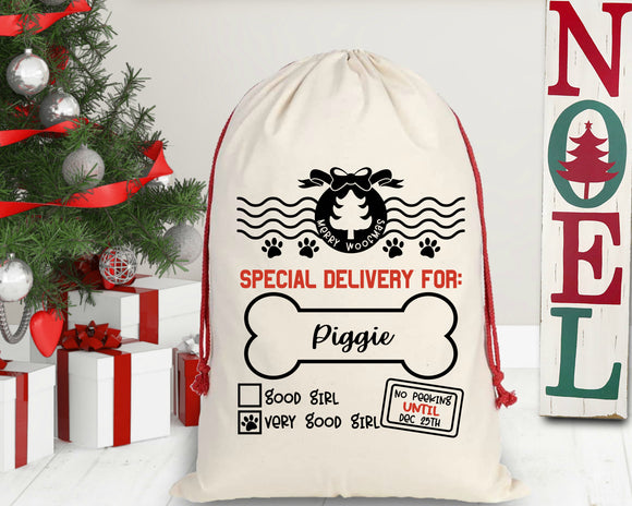 Personalized Girl Doggy Christmas Santa Sack