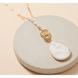 Tear Drop Stone Pendant Layered Necklace