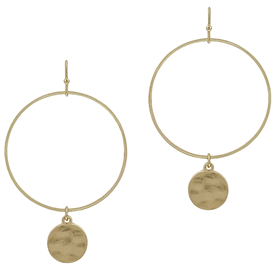 Matte Open Circle With Hammered Circle Drop Earring