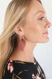 Large Leaf Earrings - Dark Mauve