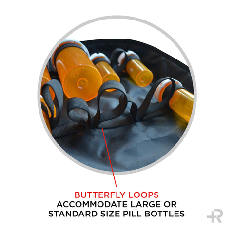 Razbag Deluxe X-Lg Prescription Medication Bag, NEW Butterfly Loops to accommodate 12 large pill bottles and 8 standard size bottles or any combination of sizes, also 3 large pockets. Padded, Lockable, Portable