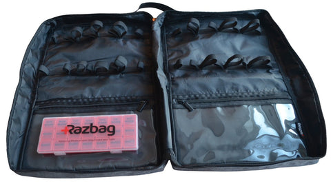 Image of Razbag Deluxe X-Lg Prescription Medication Bag, NEW Butterfly Loops to accommodate 12 large pill bottles and 8 standard size bottles or any combination of sizes, also 3 large pockets. Padded, Lockable, Portable