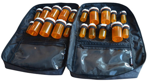 Image of Razbag Deluxe Prescription Medication Bag, NEW Butterfly Loops to accommodate 12 large pill bottles and 8 standard size bottles or any combination of sizes, also 3 large pockets. Padded, Lockable, Portable