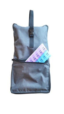 Razbag Elite Large Prescription Medication Bag with exclusive Butterfly Loops to store 6 large pill bottles and 14+ standard size bottles or any combination of sizes, 3 large pockets for medical supplies.