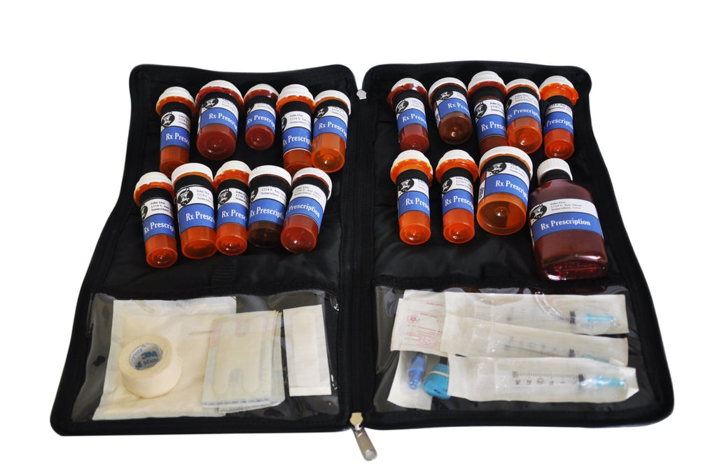 Razbag 20 medication bag and organizer two large clear view pockets and one large outer pocket.