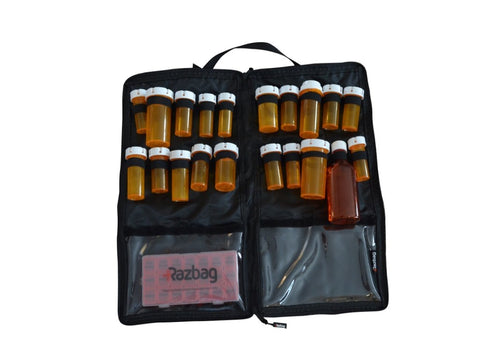 RAZBAG  with FREE Pillbox and  TSA Combination Lock Keeping Medications Organized and Locked up.