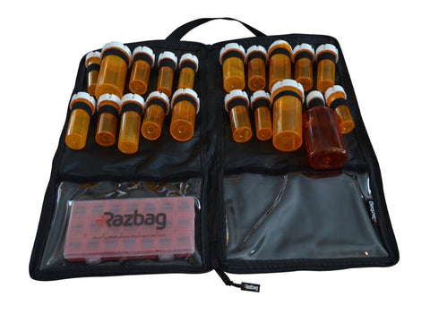Image of Razbag pill organizer bag with free pillbox
