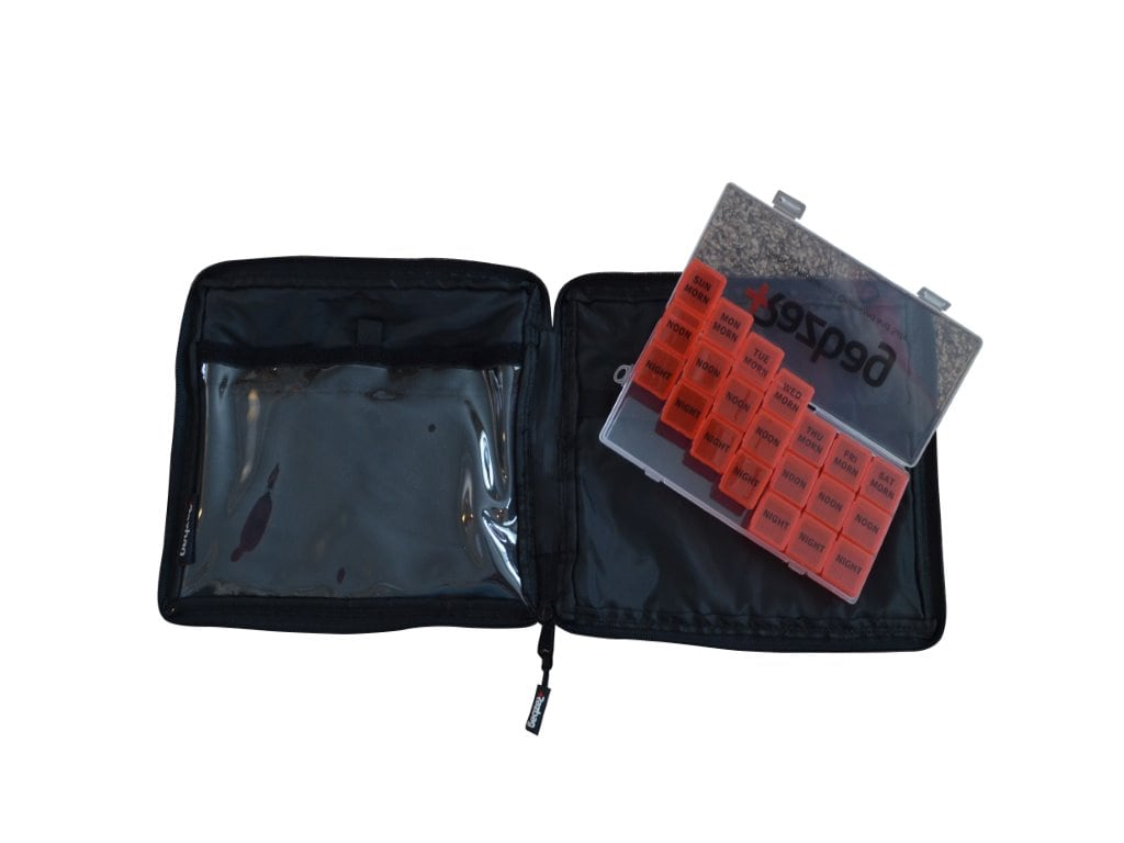 Razbag Traveler Medicine Bag and FREE Pillbox - Holds 5 Assorted Sizes of prescription bottles