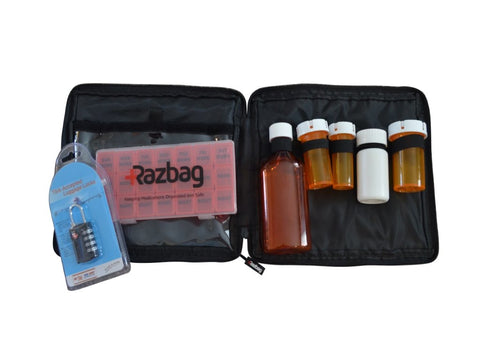 Image of Razbag Traveler Medicine bag hold five bottles with Free pillbox and Lock