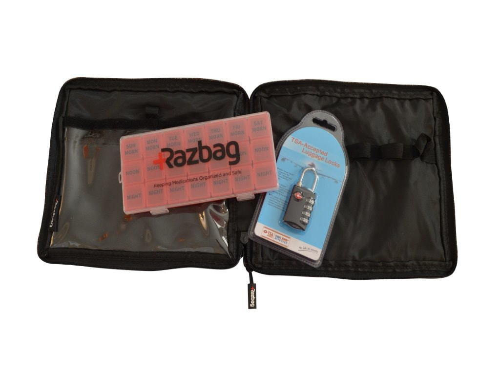 Razbag Traveler Medication bag with Free pillbox and TSA lock