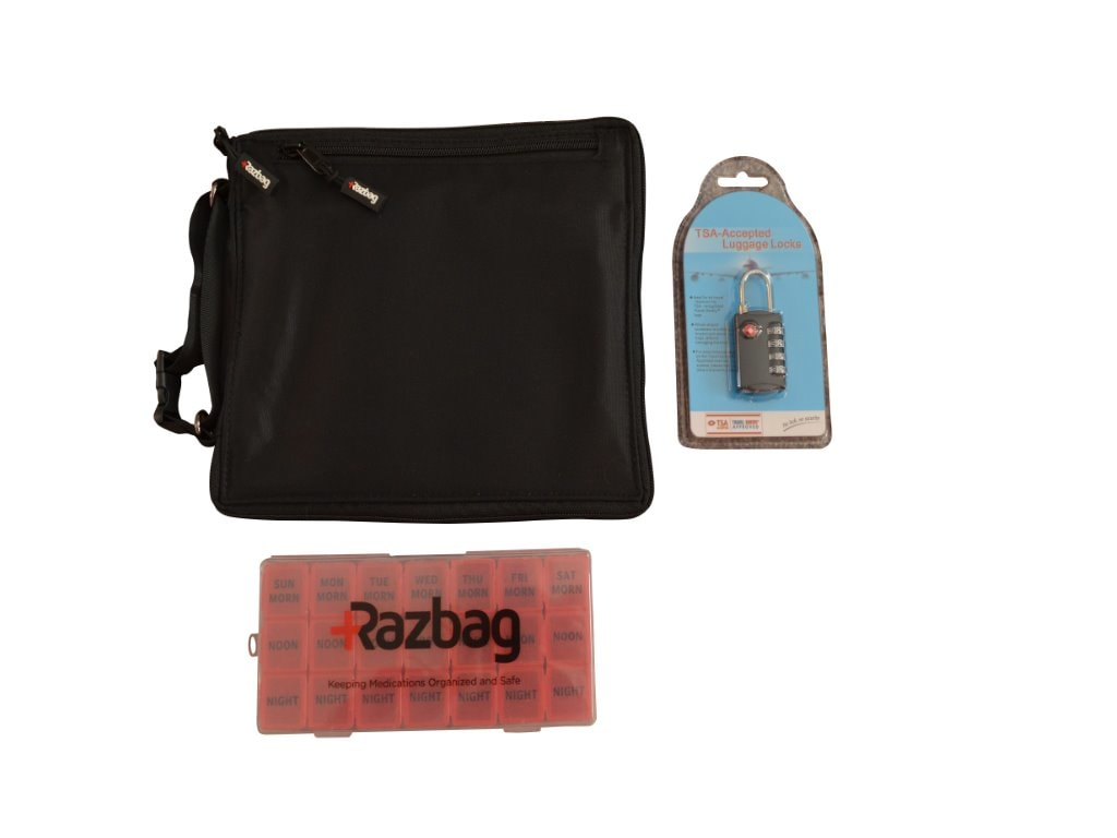 Razbag Traveler Medication bag with Free pillbox and TSA combination lock