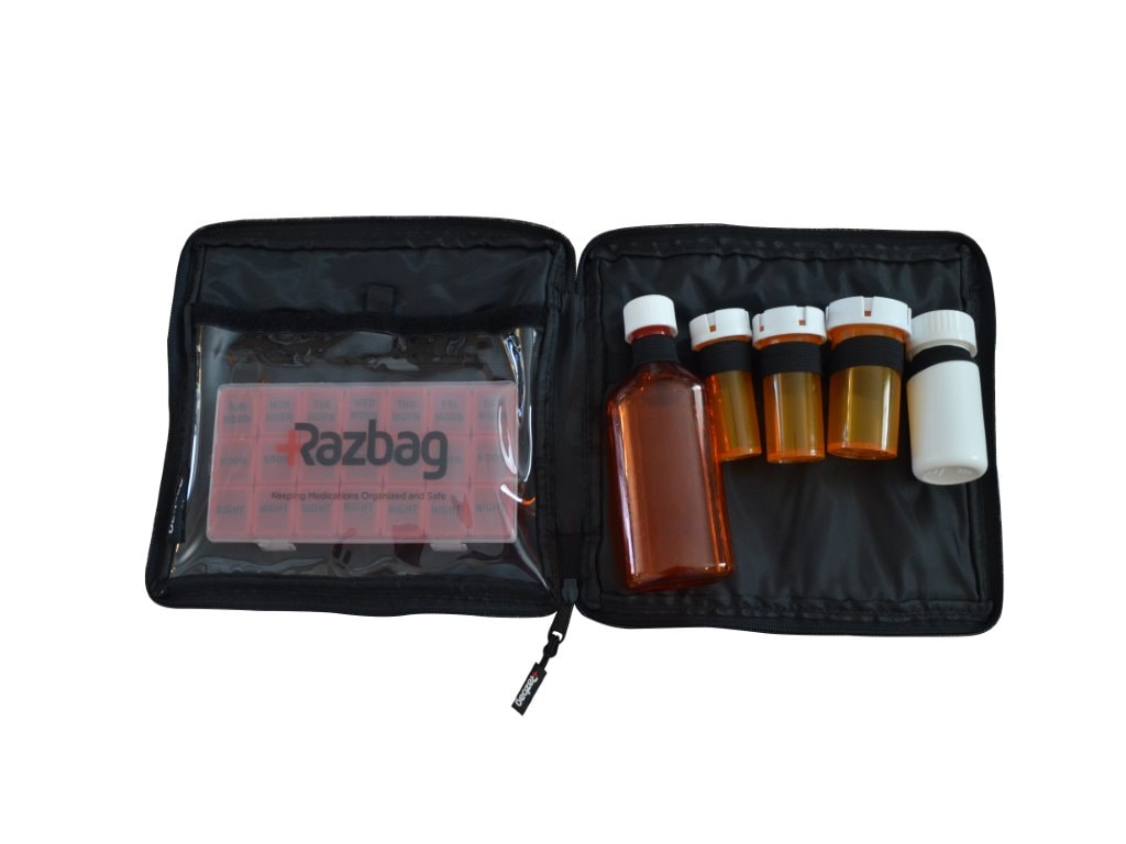 Razbag Traveler drug bag with Free Pillbox holds five prescriptions and medical supplies
