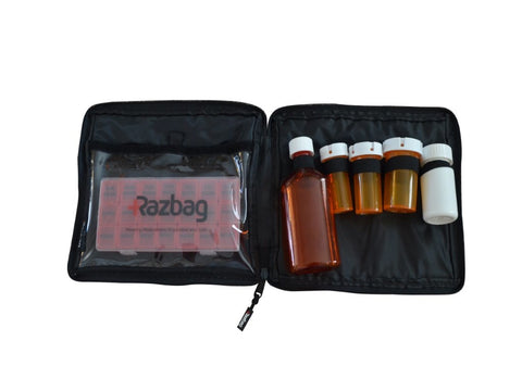 Image of Razbag Traveler drug bag with Free Pillbox holds five prescriptions and medical supplies