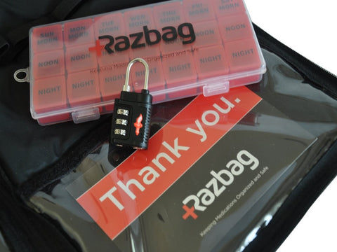 Razbag Medicine bag with free pillbox organizer