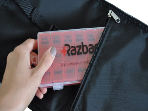 Image of Razbag Medicine bag with free pillbox organizer