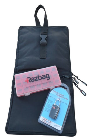 Image of RAZBAG  with FREE Pillbox and  TSA Combination Lock Keeping Medications Organized and Locked up.