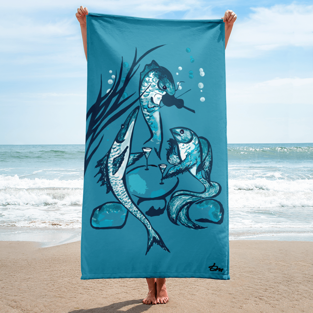 Fish Party Beach Towel