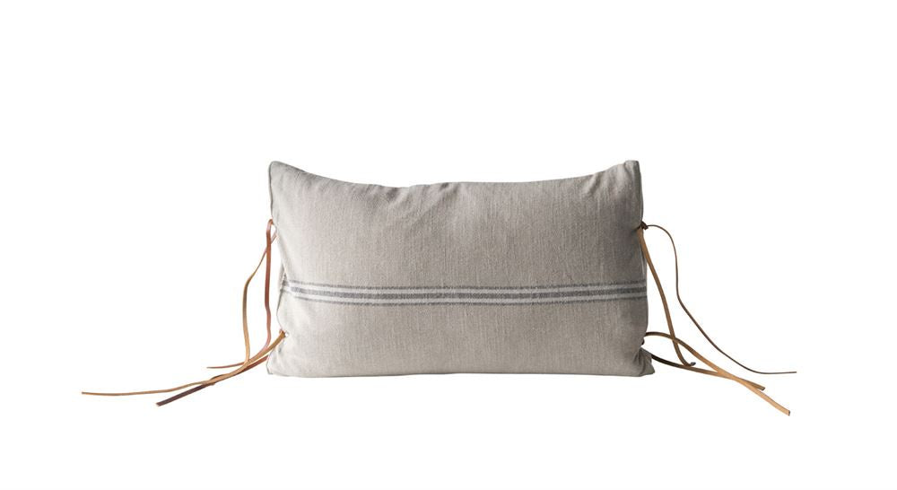 Cotton Pillow with Leather Ties