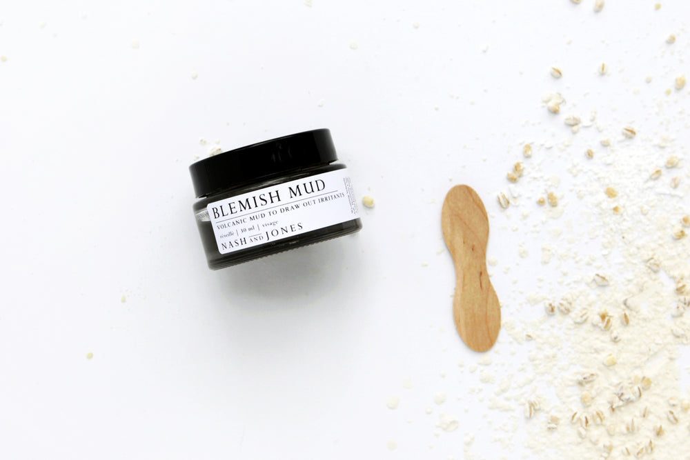 Nash & Jones Blemish Mud handmade in Nashville, Tennessee, gently draws impurities from skin with three ingredients.
