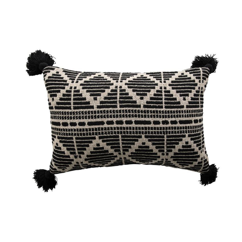 Woven Recycled Cotton Blend Lumbar Pillow with Tassels