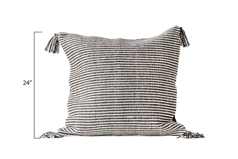 Cotton Woven Striped Square Pillow (Gray)