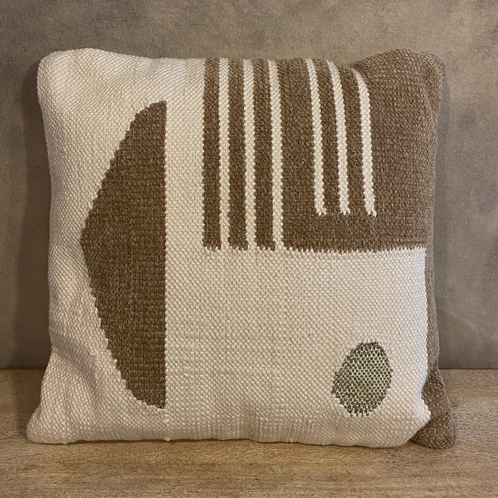 Woven Pillow with Gold Geometric Pattern