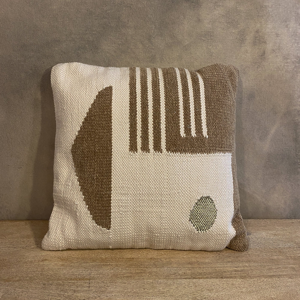 Load image into Gallery viewer, Woven Pillow with Gold Geometric Pattern