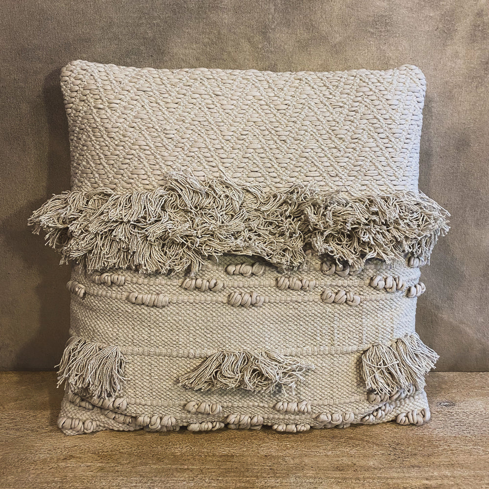 Textured Cream Pillow with Fringe
