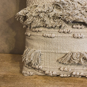 Load image into Gallery viewer, Textured Cream Pillow with Fringe