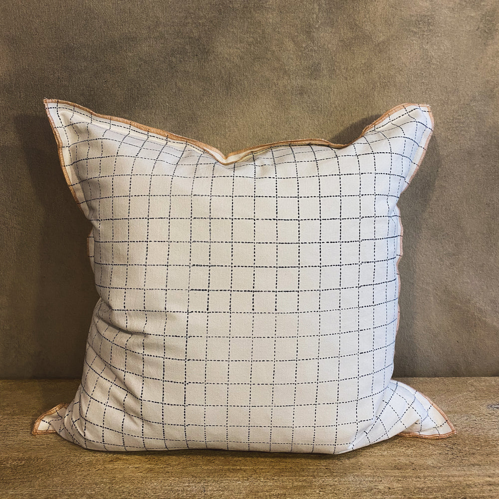 Grid Pillow with Blush Stitching