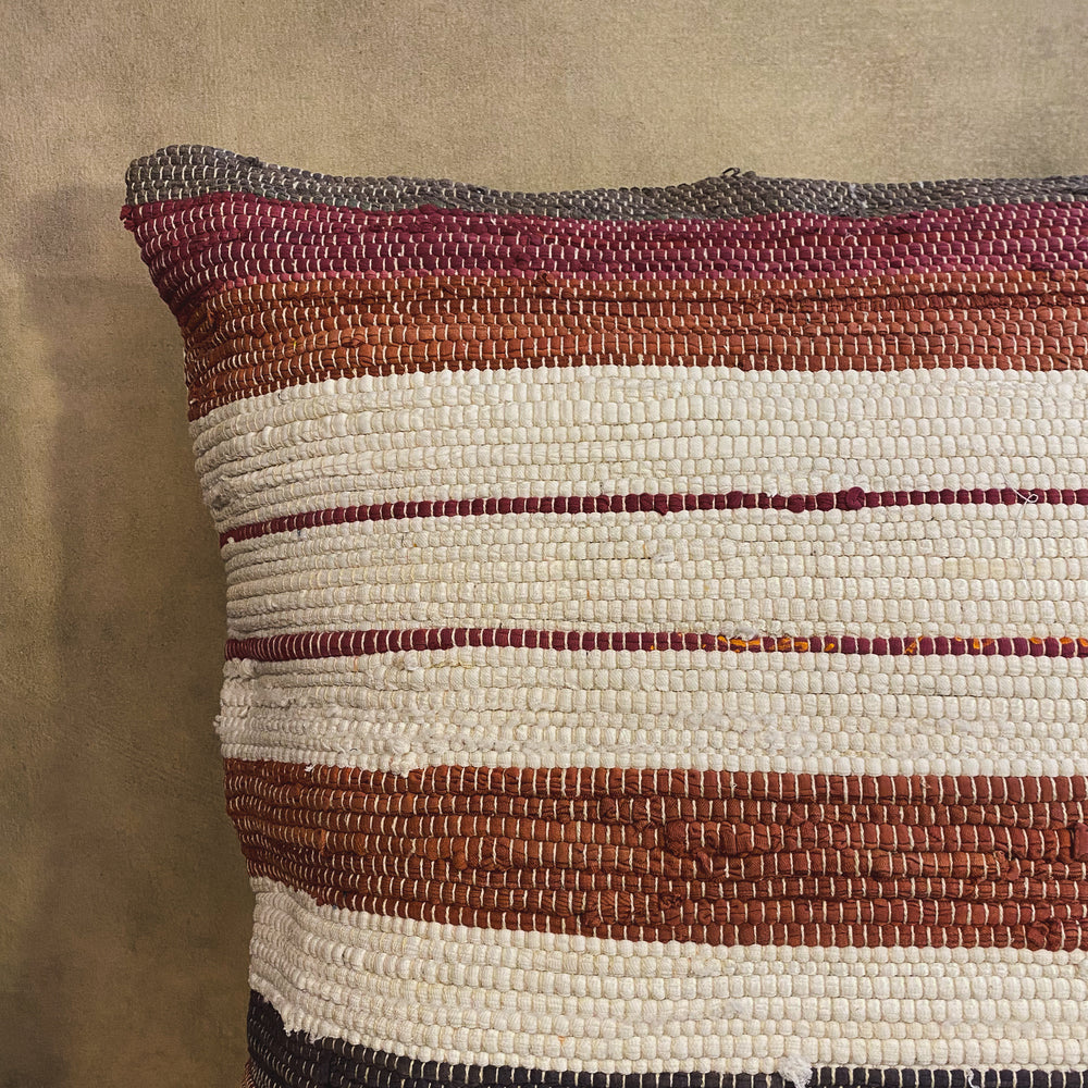 Load image into Gallery viewer, Square Multi-Color Woven Chindi Pillow - 32""