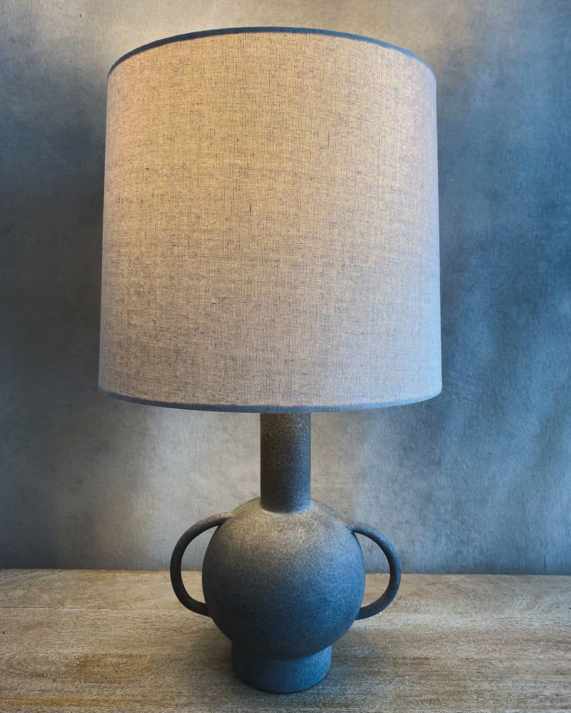 Distressed Matte Grey Terra-Cotta Lamp