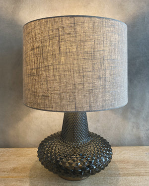 Load image into Gallery viewer, Glass Table Lamp w/ Linen Shade, Smoke