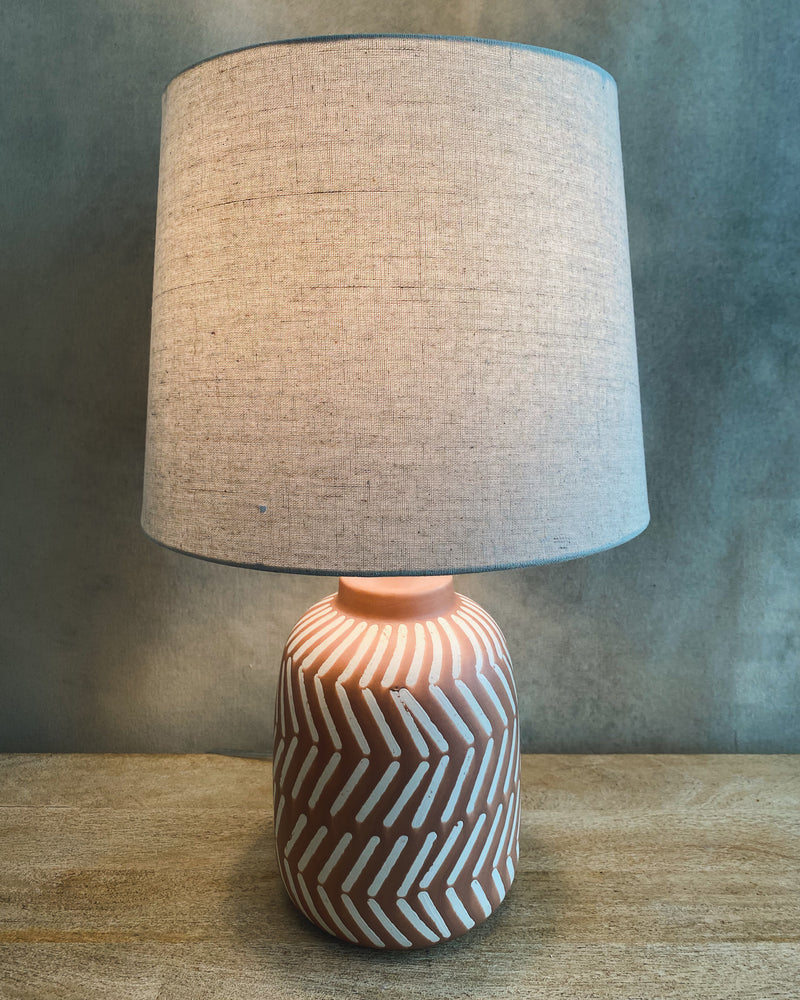 Load image into Gallery viewer, Terra-Cotta Table Lamp w/ White Stripes