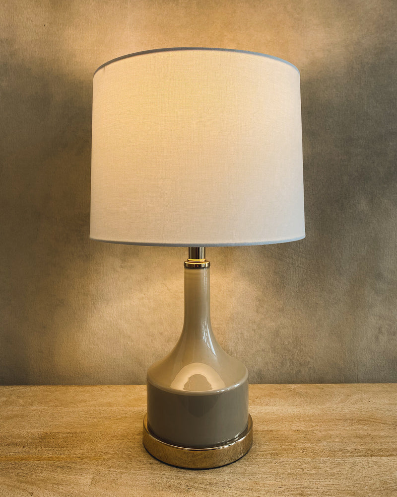 Taupe Glass Table Lamp