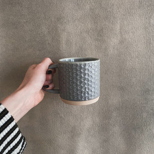 Load image into Gallery viewer, Grey Debossed Stoneware Mug