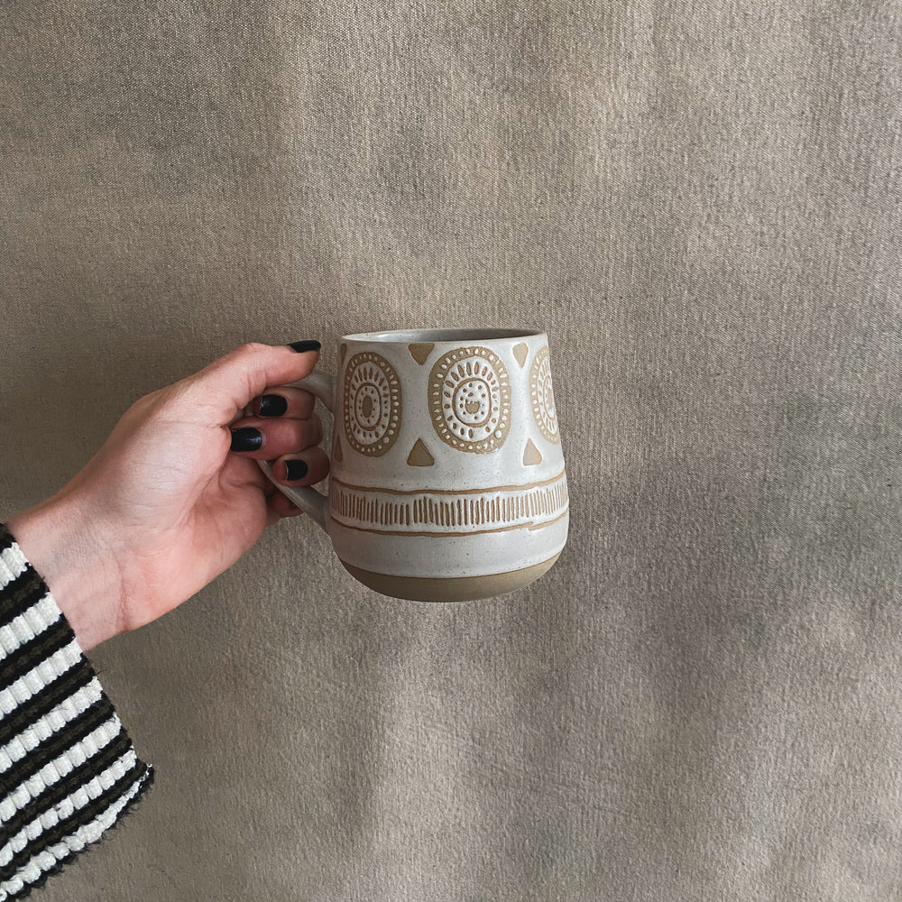Hand Painted Beige Mugs