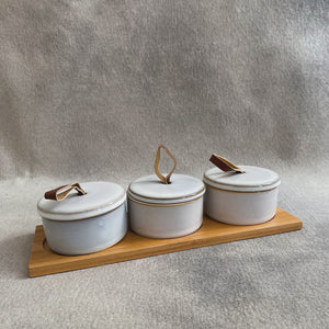 Load image into Gallery viewer, Bamboo Tray w/ 3 Stoneware Covered Pinch Pots w/ Leather Loop
