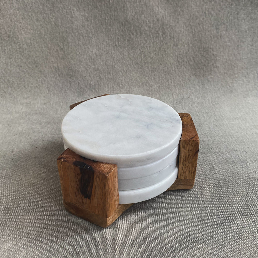 Load image into Gallery viewer, Round Marble Coasters w/ Mango Wood Holder