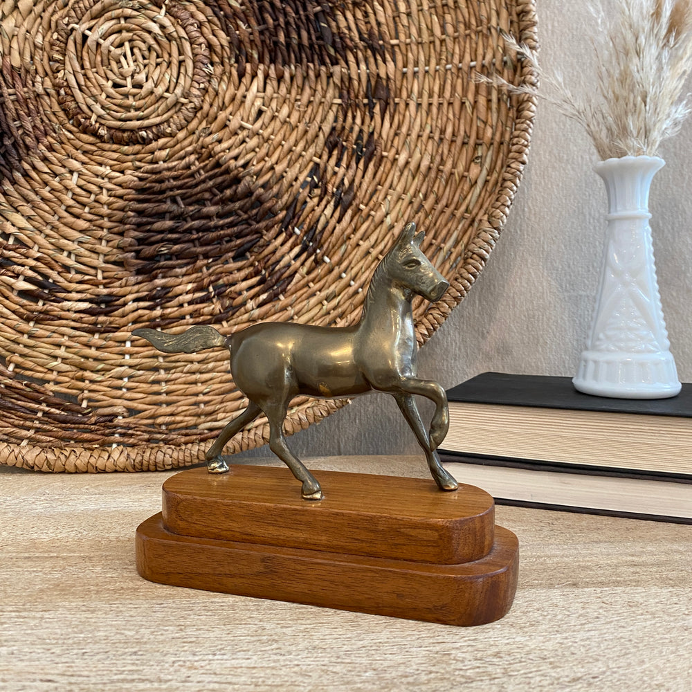 Vintage Brass Horse on Wood Pedestal