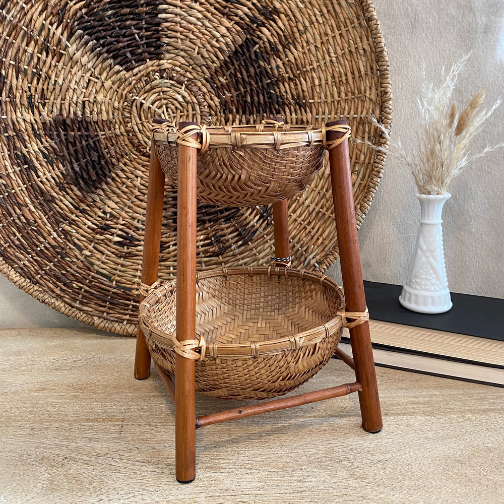 Tiered Vintage Woven Basket