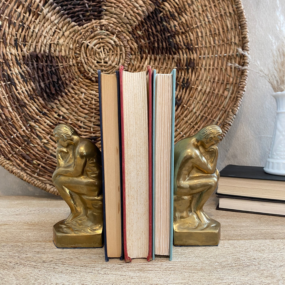 Vintage Brass Thinker Bookends