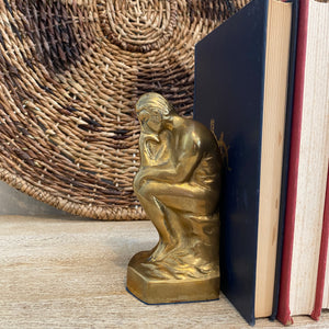 Load image into Gallery viewer, Vintage Brass Thinker Bookends
