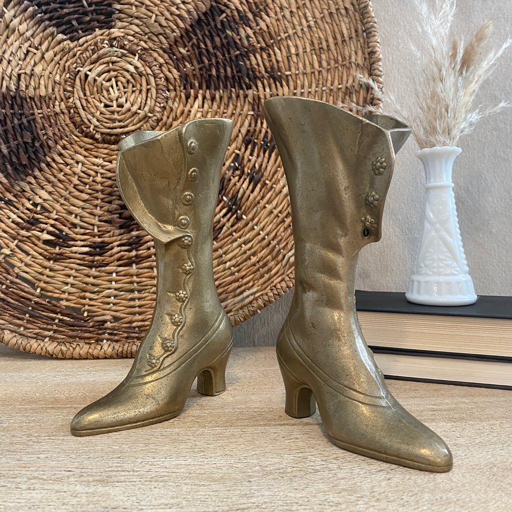 Pair of Vintage Brass Boots