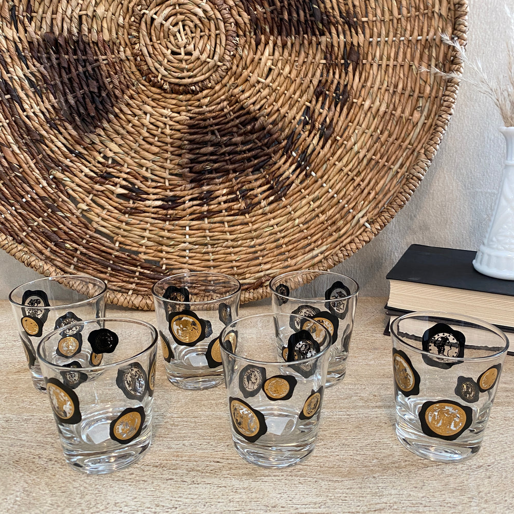 Vintage Coin Glass Set of 6
